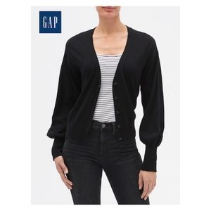 GAP Black Balloon Sleeve Cardigan Sweater